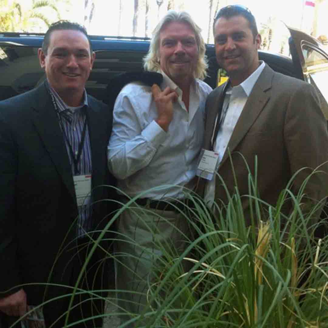 Owners Bill Barr and Mike Strmac with Richard Branson